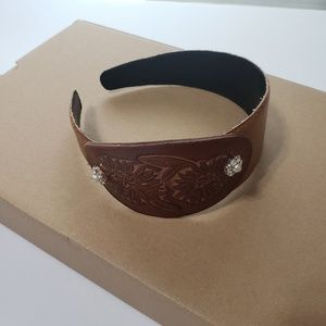 Headband Made with Faux Brown Leather